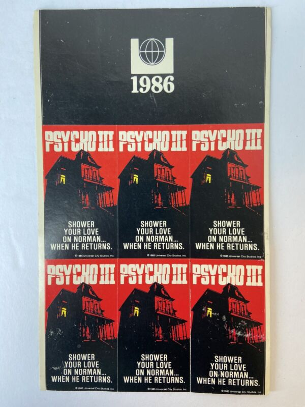 "1986 PSYCHO III Stickers Lot of 6 Movie Promo Universal Studio ""Shower Your Love"
