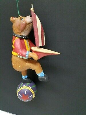 House of Hatten Artist Peggy Fairfax Herrick Dancing Bear USA Flag Wood Figurine