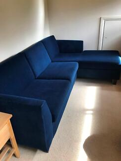 Blue Fabric Sofa with Right Terminal from Freedom Furniture