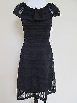 NWT Auth M Missoni Black Knit Stripe Overlay Ruffle Shift Dress Sz 46 10 $795