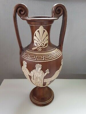 Vintage BC Reproduction Replica Vase amphora Greek Pottery bear gifts 13 1/2 in