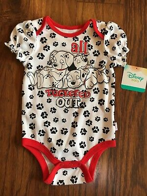 Infant Girls Disney Baby 101 Dalmatians Bodysuit Ruffle Sleeves Size 6-9M NWT