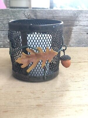 Yankee Candle Acorn Fall Leaf Metal Votive Candle Holder Autumn Decor