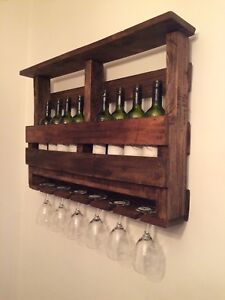 Handcrafted Hard Wood Pallet Wine and Glass Display