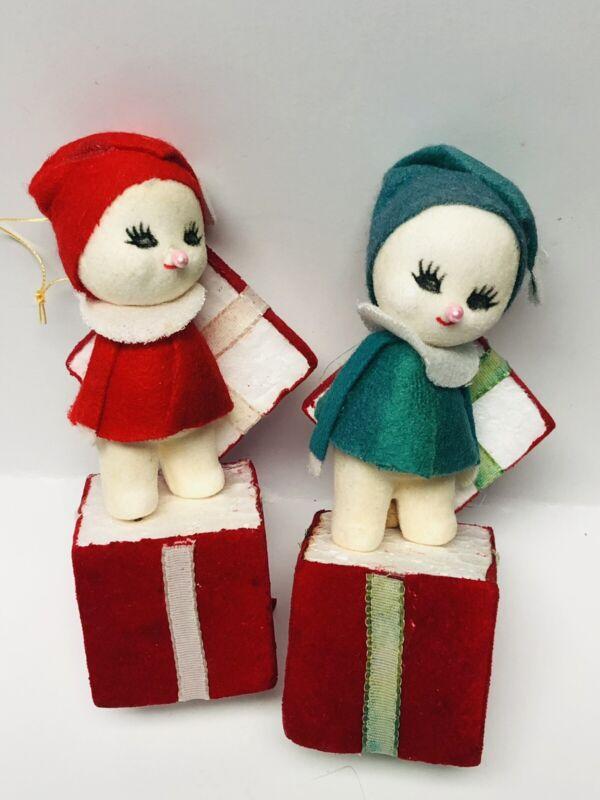 "Vintage 2 Christmas Flocked Felt Collectible Snowbaby Snowman Japan Ornaments 5"""