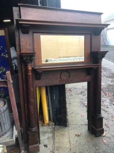 """c1880 fancy victorian fireplace mantle Quartersawn oak 79"""" x 55""""w beveled mirror"""