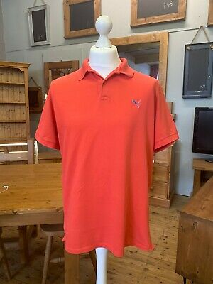 Puma Twin Tipped Pique Polo Shirt Tomato Red Mens Large