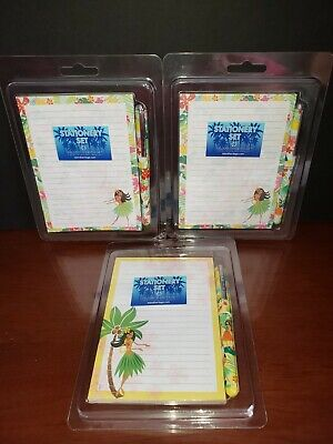 Island Heritage Lot Of 3 Hawaiian Hula Stationery Sets-50 Ct. Note Pads Wpen