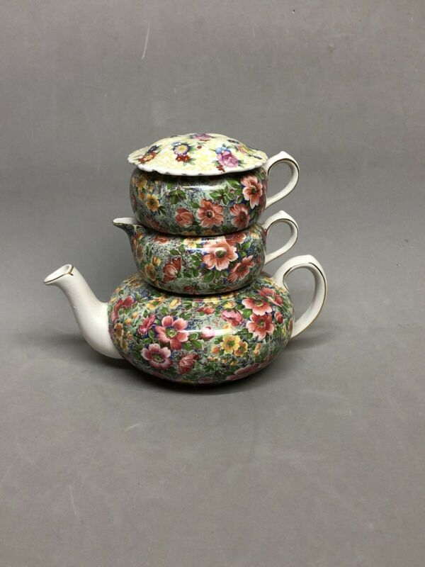 40s Nelson Ware Chintz Stackable Tea Set Lord Nelson Briar Rose Elijah Cotton