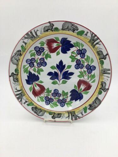 "Antique Rabbitware Frog Stick Spatterware Staffordshire 12 3/4"" Charger Platter"