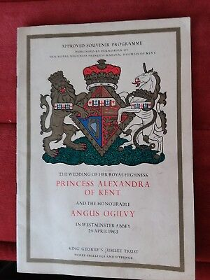 VINTAGE 1963 ROYAL WEDDING  PROGRAMME - PRINCESS ALEXANDRA OF KENT