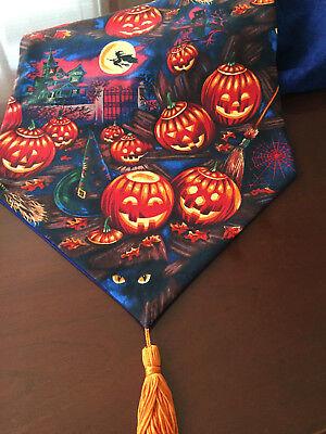 Halloween Witch Hats, Pumpkins, Broomsticks Cotton Table Runner by ThemeRunners](Pumpkins Halloween Witch)