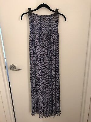 SCOOP NYC Sheer Blue / Purple Leopard Strapless Silk Dress / Beach Coverup O/S