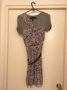 BCBGMAXAZRIA Silk Overlay Dress with belt