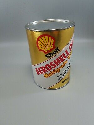 Vintage Shell Aeroshell Motor Oil 1 Quart Can full Cardboard Composite