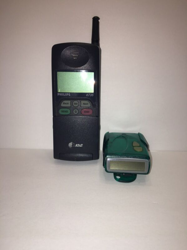Lot Of 2 - 90's Retro Philips AT&T 6735 Flip Cell Phone & Uniden FX9600 Pager