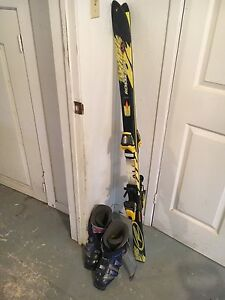 Downhill skis and boots