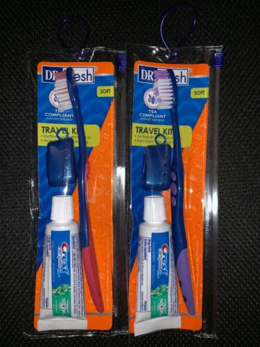 DR. FRESH TRAVEL TOOTHBRUSH KIT 2 PACK CREST TOOTH PASTE, CA