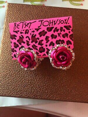 Betsey Johnson Deep Hot Pink Rose Silver Earrings Crystals Gift Box Organza Bag