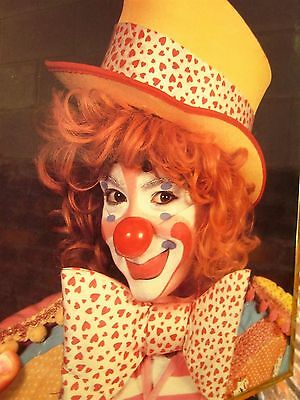 FEMALE CLOWN wall hanging 1980s mime poster Redhead slapstick make-up w/ hat - Female Mime Makeup