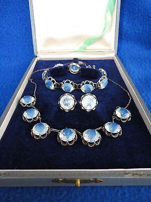Art Deco 1920s Japanese Sterling Silver Opalescent Crystal Necklace Bracelet Set