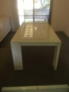 White gloss and Glass top dining table Albany Creek Brisbane North East Preview