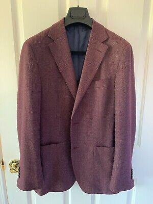 Suitsupply Havana Patch Pocket Jacket Burgundy Wool Cashmere 40R Slim Fit