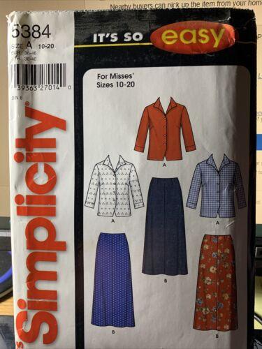 Simplicity It s So Easy Skirt Blouse Pattern 5384 Size A 10-20 Misses UnCut - $2.95