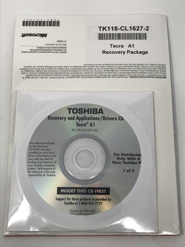 Toshiba Recovery and Applications/Drivers CD Package Tecra A1 Windows XP Pro