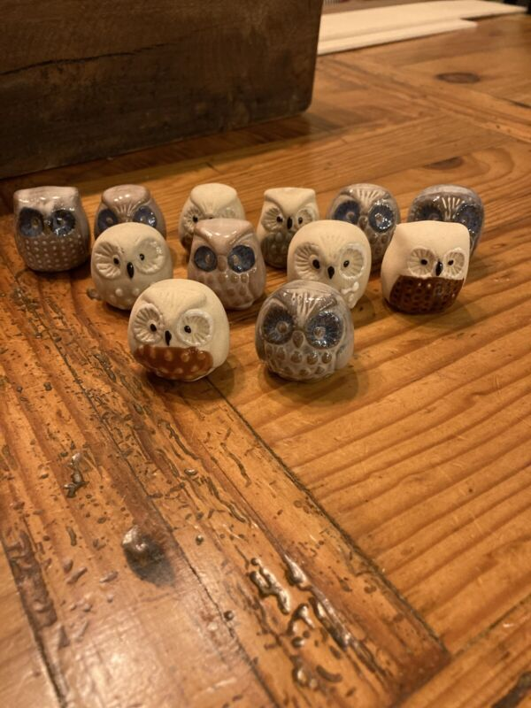"Pottery Owl Figurines Glazed and Unglazed 1""x1.25""-12"