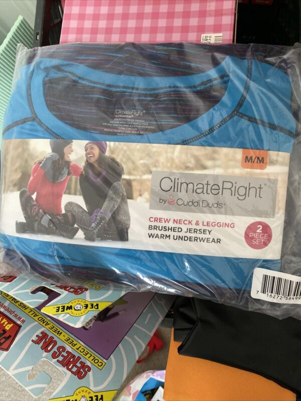 Cuddl Duds Climate Right Brushed Jersey Shirt And Leggings Set Size Medium NWT
