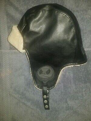 DISNEY JACK THE NIGHTMARE BEFORE CHRISTMAS beenie AVIATOR HAT fux leather / wool
