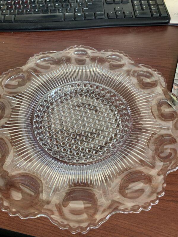 "vintage US GLASS Manhattan 11"" flared shallow  bowl plate"