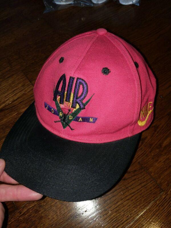 Vtg 90's Nike Air Jordan Snapback Hat Youth Kids Size Jumpman Red Black Bulls