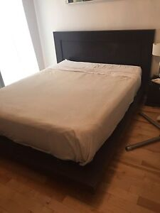 Queen bed and mattress with storage solution