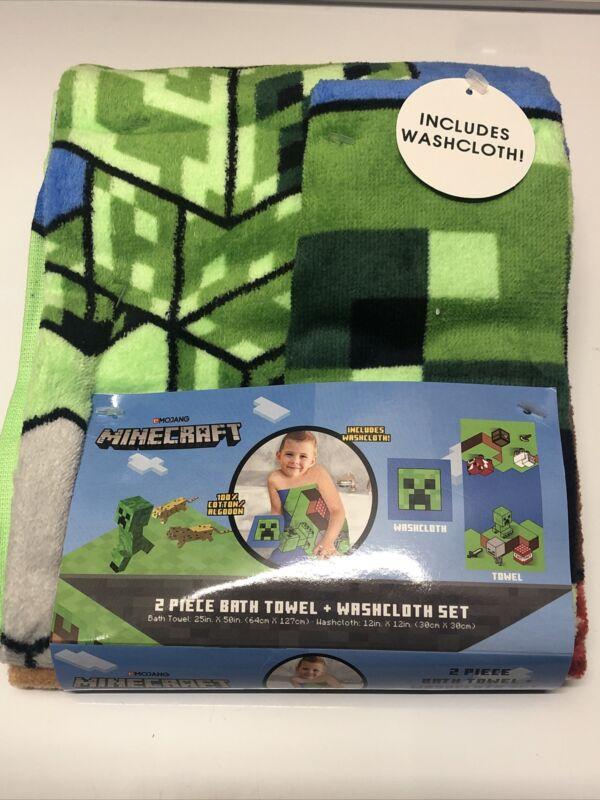 Minecraft 2 Piece Bath Towel plus washcloth NEW