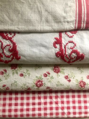 Antique vintage French fabrics RED tones FLORAL REWORK lot WASHED