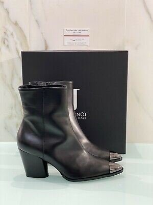 Jeannot Woman Ankle Boot Black Leather 82119 Made IN Italy 40