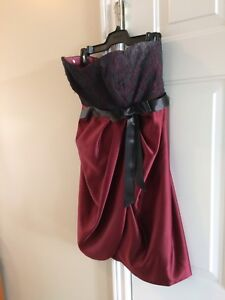 Party dress, above knee length, strapless, size 14