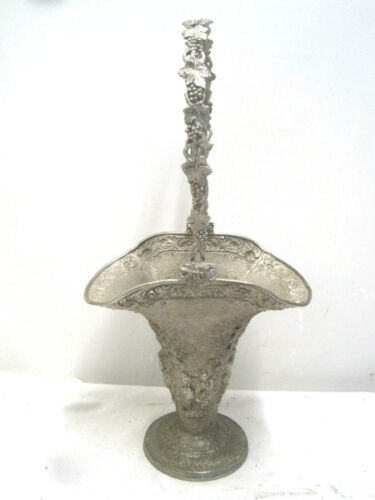 """Vintage Victorian Wedding Floral Brides Basket Silver over Copper 21"""" Barbour"""