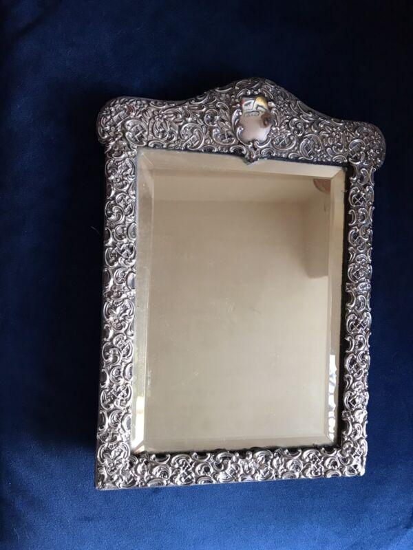 Stunning Large Henry Matthews Hallmarked Silver Repousse Table Mirror