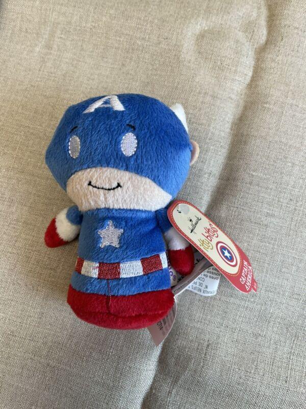 "Hallmark ittybittys Marvel Captain America 4.5"" plush NWT"