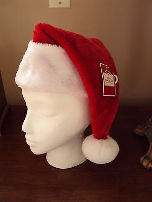 Christmas Deluxe Red Plush Santa Hat White Faux Fur Trim Costume Adult Large