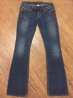 SILVER Tuesday Boot Cut Low Rise Dark Wash Stonewash Jeans Women's Size 26/33 Dark Stonewash Low Rise Boot Jean