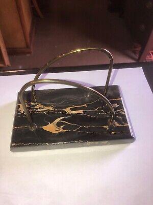 Vintage Collectible Art Deco Marble Brass Felt Bottom Brass Arch Letter Holder