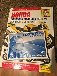 CBR 929 and 954 Haynes Manual and Owners Manual