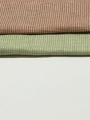 100% Flax  Linen Fabric Yarn Dyed  2mm Small Gingham Check,Brown and Light (Light Green Fabric)