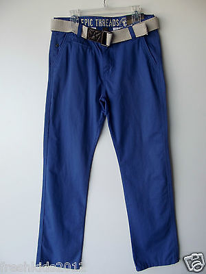 Epic Threads Boys Belted Cotton Chino Pants Brushed Blue NWT size 20 (Boys Brushed Cotton Pants)