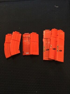 Lot of 7 Nerf Gun Magazines Clips 10 12 18 Rounds Official Genuine