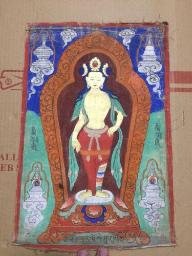 Mongolian ANTIQUE Buddhist OLD Thangka Paint 18-19c